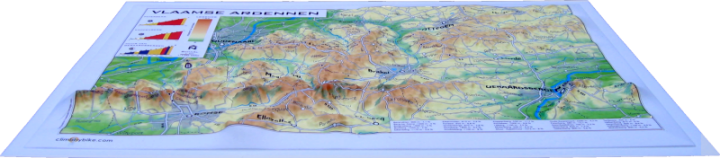 relief cycling map Flemish Ardennes