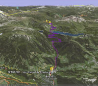 Google Earth 3D map Cormet de Roselend