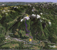 Google Earth 3D map Monte Zoncolan