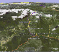 Google Earth 3D map Col de Pailhères
