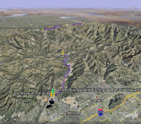Google Earth 3D map Route 39 from Azusa to Highway 2