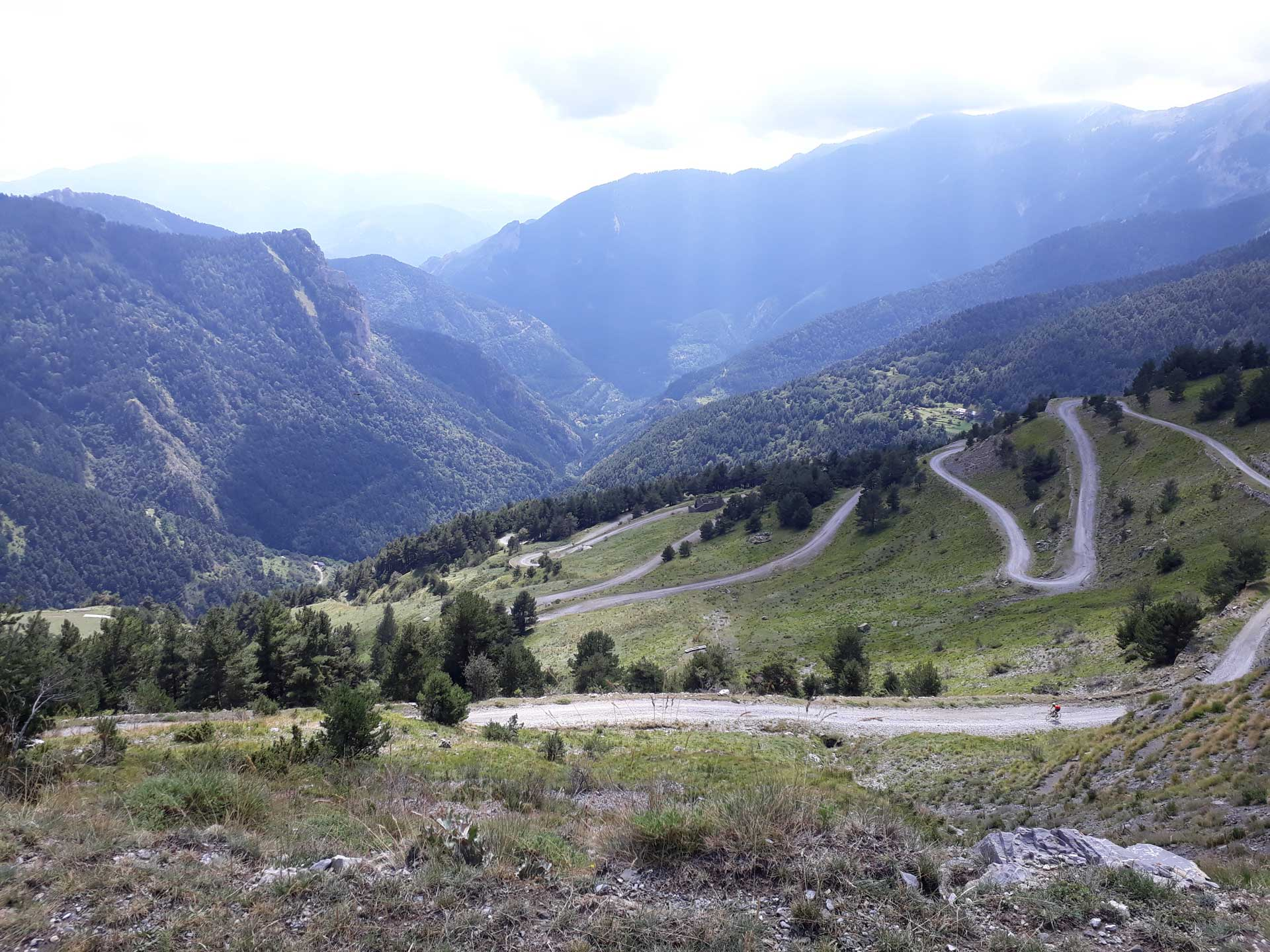 With the racing bike over the Col de Tende